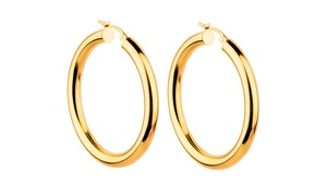 14K Gold 30mm Thick High Polish Hoops