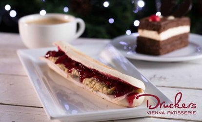 image for Panini, Slice of Gateau and Drink for One or Two at Druckers Vienna Patisserie, 17 Locations (Up to 41% Off)