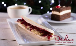 Druckers Vienna Patisserie: Panini, Slice of Gateau and Drink for One or Two at Druckers Vienna Patisserie, 17 Locations (Up to 41% Off)