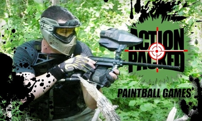 Action Packed Paintball Games - St. Lawrence: $20 for Admission, Rental Gear, All-Day Air, and 200 Paintballs at Action Packed Paintball Games