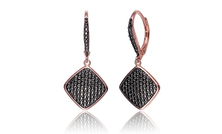 Rose Gold Over Sterling Silver and Gun Metal Diamond Square Earrings