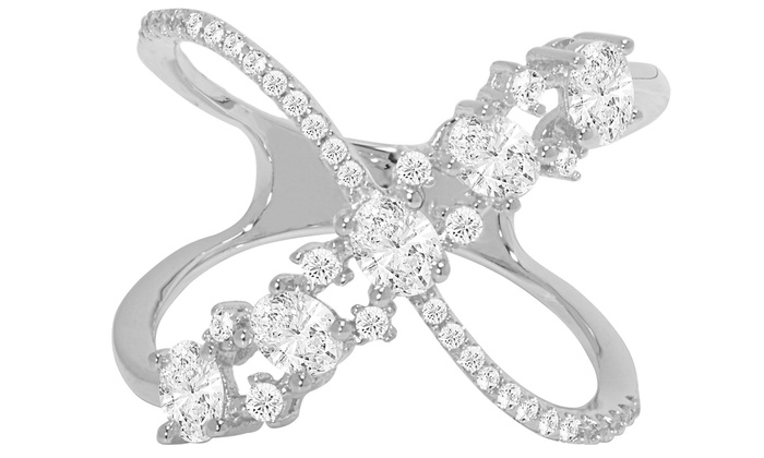 4 00 CTTW Cubic Zirconia Crossover X Ring in 18K White Gold