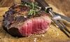 Steakhausteller und Prosecco