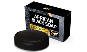 24K Organic African Black Soap Face and Body Bar