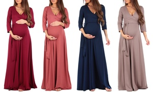 Women's Faux Wrap Maxi Maternity Dress