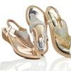 Lady Godiva Women's Metallic Thong Wedge Sandals