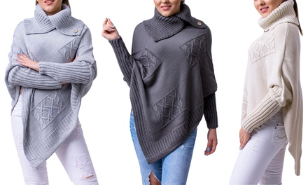 Long Sleeve Knitted Poncho