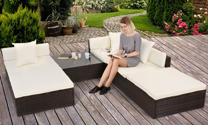 groupon goods global gmbh 18 piece poly rattan garden furniture set in choice