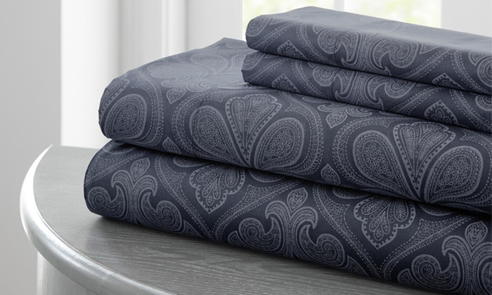 Royal Cavendish Microfiber Paisley Printed Sheet Set: Printed Microfiber Sheet Set Purple Bed At Alzheimers-prions.com
