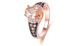 Champagne Cubic Zirconia Rose Gold Plated Engagement Ring by Barzel
