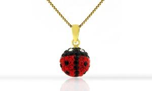 Kids' Gold Plated Crystal Ladybug Pendant Necklace
