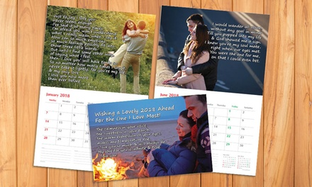 One or Two Personalised Wall Calendars with 14 Pictures from Gifttag.ae (Up to 41% Off)