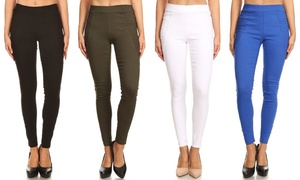 Womens' Skinny Pleated Stretchy Pull-on Jeggings