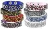 Vegan Leather Bracelet with Crystals (4-Piece): Vegan Leather Bracelet with Crystals (4-Piece)
