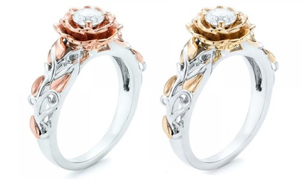 One or Two Rose Rings with Crystals from Swarovski®