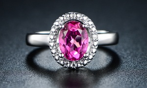 Genuine Pink Topaz and Diamond Accent Halo Ring by GEMBASSY
