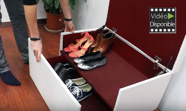 Coffre Range Chaussures En Similicuir Avec Tiroir Coulissant