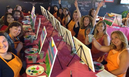 TwoHour Social Painting Class One $35 Two $65 or Four $119 People at Paint for Fun Up to $196 Value