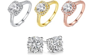 18K Gold-Plated Halo Ring with Free Swarovski Elements Studs