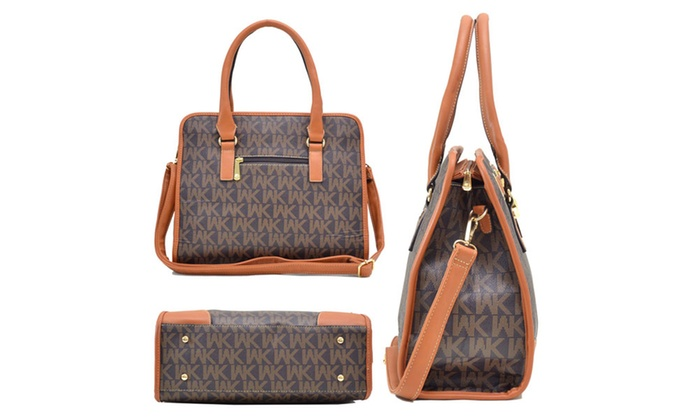 28711c950a WK Collection Satchel Handbag with Wallet or 2-in-1 Monogram Tote | Groupon