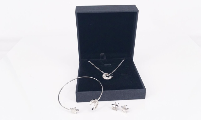 Stars and Moon Three-Piece Jewellery Set with Optional Presentation Box from £6.98