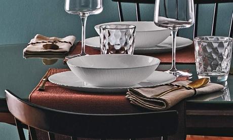 Image of Servizio Rocco Bormioli da 24 o 48 pezzi composto da piatti Cocunut e bicchieri Glit