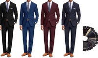 2-Piece Braveman Mens Suit with Dress Socks (Multiple Styles)