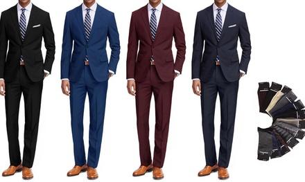 Braveman Men's 2-Piece Suit with Dress Socks. Multiple Styles Available