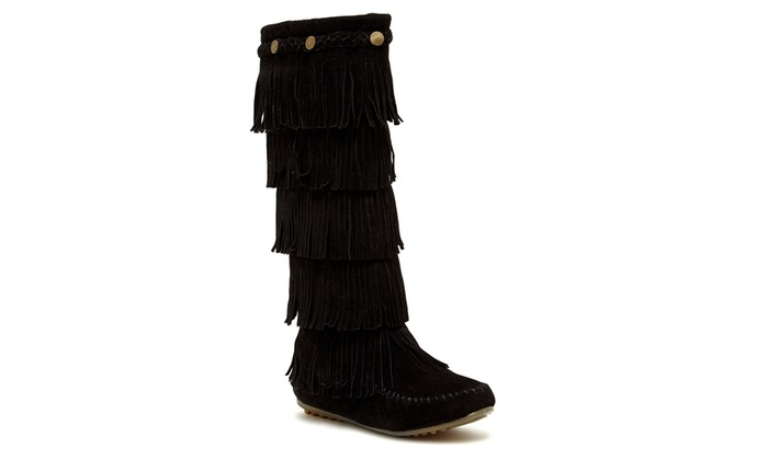 Women's 5-Layer Fringe Boots | Groupon Goods