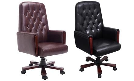 Chesterfield bureaustoel verkrijgbaar in zwart of bruin voor
