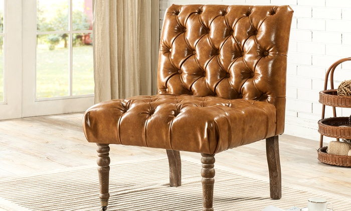 Hendrix Faux Leather Tufted Slipper Chair: Hendrix Faux Leather Tufted Slipper  Chair ...