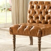 Hendrix Faux Leather Tufted Slipper Chair