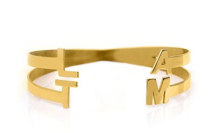 Silver- or Gold-Plated Personalized Bangle with Four Initials from Monogram Hub (Up to 84%)