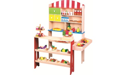Lelin Wooden Corner Shop Playset