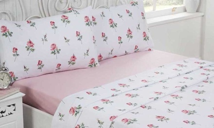Rapport Home FourPiece Rosebud Brushed Cotton Sheet Set in Choice of Colour