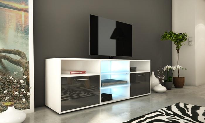 meuble tv avec clairage led groupon shopping. Black Bedroom Furniture Sets. Home Design Ideas