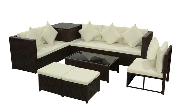 jusqu 39 49 canap jardin rotin synth tique groupon. Black Bedroom Furniture Sets. Home Design Ideas