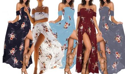 Abito lungo da donna con spalle scoperte e stampa floreale disponibile in 3 taglie e vari colori