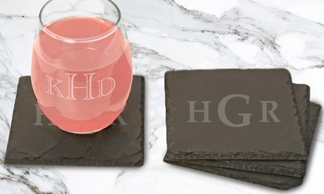 Stemless Wine Glasses or Slate Coasters from Monogram Online (Up to 67% Off). Four Options Available. photo