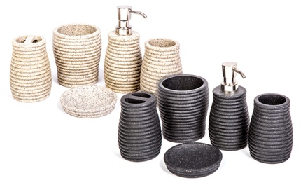 Stone effect bathroom accessory groupon goods for Marble bathroom accessories uk