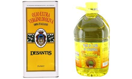 Fino a 10 L di olio italiano De Santis in confezioni da 5 L disponibile in 2 tipologie