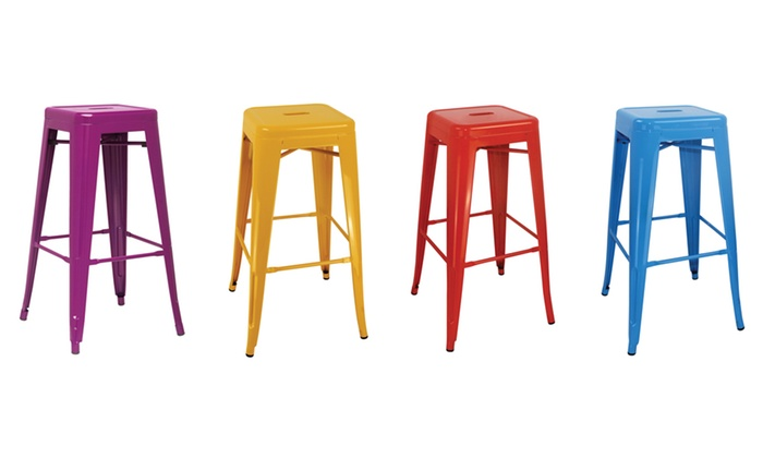 Pleasing Cubic Metal Bar Stools Groupon Goods Andrewgaddart Wooden Chair Designs For Living Room Andrewgaddartcom