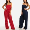 Women's Strapless Solid Cotton Stretchy Jumpsuit with Belt