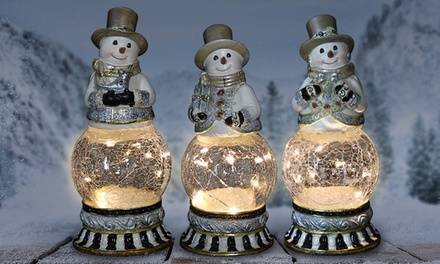 Snowman Christmas Globe Statue with Automatic Timer