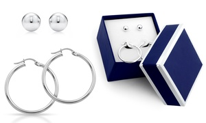 Sterling Silver Ball Stud and Hoop Earring Set With Gift Box