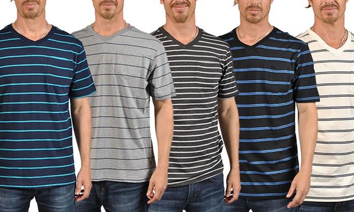 Men's V-Neck Striped T-Shirt