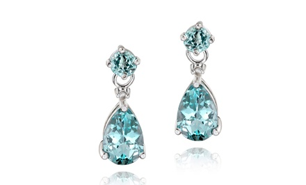 Blue Topaz Teardrop Dangle Earrings in Sterling Silver