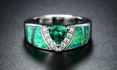 Mossy Green Opal Inlay Ring with Trillion-Cut Emerald by Peermont