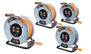 Masterplug Durable Metal Extension Cord Reels with Integrated Outlets