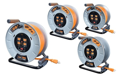 Masterplug Durable Metal 12-Gauge Extension Cord Reels with Integrated Outlets